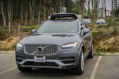Uber self-driving car in tests in San Francisco. August 10, 2017 San Francisco/CA/USA - Uber self-driving cars have been allowed to run tests in San Francisco stock photo