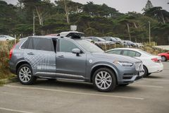 Uber self-driving car in tests in San Francisco - side view. August 10, 2017 San Francisco/CA/USA - Uber self-driving cars have been allowed to run tests in San stock photo