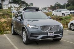 Uber self-driving car in tests in San Francisco - frontal view. August 10, 2017 San Francisco/CA/USA - Uber self-driving cars have been allowed to run tests in royalty free stock photos