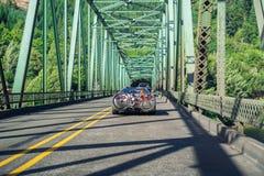 August 20, 2017 Scottsburg/OR/USA - Driving on a bridge over Umpqua River stock images