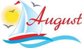 august segelbåt stock illustrationer