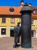 August Senoa-standbeeld in Vlaska-straat, Zagreb, Kroatië Royalty-vrije Stock Fotografie