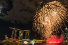 August 9, 2014: Singapore National Day. ,Sands Hotel fireworks royalty free stock images