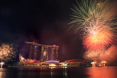 August 9, 2014: Singapore National Day. ,Sands Hotel fireworks royalty free stock photo