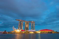 August 9, 2014: Singapore National Day. ,Sands Hotel Singapore lit flag the lamp stock photos