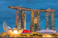 August 9, 2014: Singapore National Day. ,Sands Hotel Singapore lit flag the lamp stock image