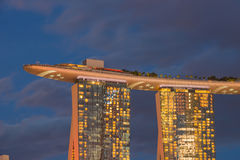 August 9, 2014: Singapore National Day. ,Sands Hotel Singapore lit flag the lamp royalty free stock photo