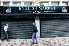 August 4th, 2017, Cork, Ireland - people walking near the front entrance of the English Market, a municipal food market Stock Images