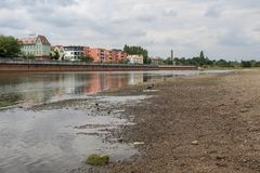 Drought of river Oder stock photography