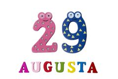 August 29th. The picture on 29 August, close-up of numbers and letters on a white background. Summer day Royalty Free Stock Images