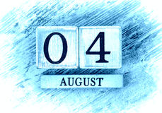 August 4th. The Wooden Calendar stock images