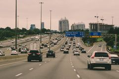 August 12 2018, Toronto Canada: Editorial photo of the 401 highway in the Toronto area. The 401 is the busiest highway royalty free stock photos