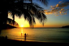 Idyllic sunset at a calm bay on roatán island with three tourists standing in the shallow water and enjoying the last sunrays of stock photo
