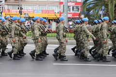 30 August Turkish Victory Day. ISTANBUL, TURKEY - AUGUST 30, 2018: Soldiers march during 96th anniversary of 30 August Turkish Victory Day parade on Vatan Avenue royalty free stock images