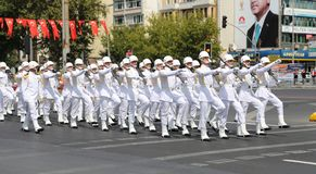 30 August Turkish Victory Day. ISTANBUL, TURKEY - AUGUST 30, 2018: Soldiers march during 96th anniversary of 30 August Turkish Victory Day parade on Vatan Avenue stock images