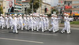 30 August Turkish Victory Day. ISTANBUL, TURKEY - AUGUST 30, 2018: Soldiers march during 96th anniversary of 30 August Turkish Victory Day parade on Vatan Avenue royalty free stock photography