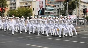 30 August Turkish Victory Day. ISTANBUL, TURKEY - AUGUST 30, 2018: Soldiers march during 96th anniversary of 30 August Turkish Victory Day parade on Vatan Avenue royalty free stock photos