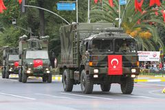 30 August Turkish Victory Day. ISTANBUL, TURKEY - AUGUST 30, 2018: Military vehicle during 96th anniversary of 30 August Turkish Victory Day parade on Vatan stock photo