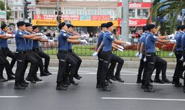 30 August Turkish Victory Day. ISTANBUL, TURKEY - AUGUST 30, 2018: Police forces march during 96th anniversary of 30 August Turkish Victory Day parade on Vatan royalty free stock image