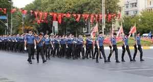 30 August Turkish Victory Day. ISTANBUL, TURKEY - AUGUST 30, 2018: Police forces march during 96th anniversary of 30 August Turkish Victory Day parade on Vatan royalty free stock photo