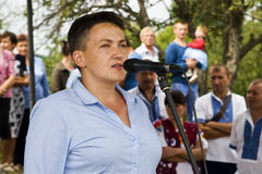 August 28, 2017: Ukrainian politician, deputy Nadezhda Savchenk? performs at equestrian sporting event in the Ukrainian village of Royalty Free Stock Image