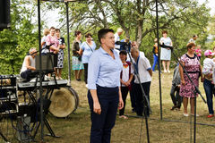 August 28, 2017: Ukrainian politician, deputy Nadezhda Savchenk? says a speech at the holiday held in the Ukrainian village of Plo Royalty Free Stock Photos