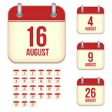 August vector calendar icons Royalty Free Stock Images