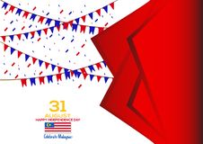 31 August - Vector illustration Malaysia Independence Day Patriotic Design. Happy Independence Day Vector Greeting Card. 31 August - Vector illustration royalty free illustration