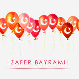 August 30 - Victory  Day. Greeting card - balloons with Turkey Flag. Inscription: Victory  Day. Royalty Free Stock Photos