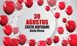 30. August Victory Day Turkish Speak 0 Agustos, Zafer Bayrami Kutlu Olsun Auch im corel abgehobenen Betrag Lizenzfreie Stockbilder