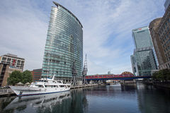 August 2017, A view of West India Quay, London, England. A view of West India Quay near Canary Wharf, London England with a yacht and luxury hotel in the stock images