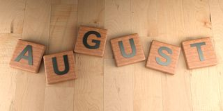 August wooden tags - 3D rendering Royalty Free Stock Images