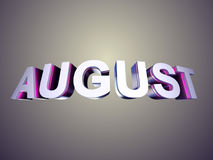 August word from bevel glossy letters. In perspective 3d rendered with depth of field for calendar background Royalty Free Stock Images