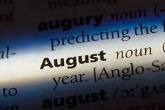 August. Word in a dictionary.  concept Royalty Free Stock Photography