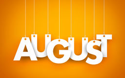 August. Word hanging on the ropes Royalty Free Stock Photography
