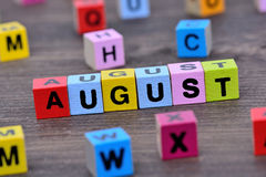 August word on table Royalty Free Stock Photo