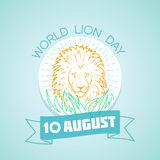 10 august World Lion Day. Calendar for each day on august 10. Greeting card. Holiday - World Lion Day. Icon in the linear style stock illustration