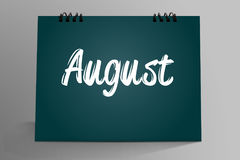 August Written in calendario da tavolino illustrazione di stock