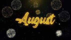 August Written Gold Particles Exploding-Vuurwerkvertoning royalty-vrije illustratie