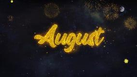 August Written Gold Particles Exploding-Vuurwerkvertoning vector illustratie