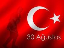 30. August zafer bayrami oder Victory Day Turkey und der Nationaltag Auch im corel abgehobenen Betrag Rote und weiße Fahne stock abbildung