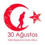 30. August zafer bayrami oder Victory Day Turkey und der Nationaltag Auch im corel abgehobenen Betrag Rote und weiße Fahne lizenzfreie abbildung