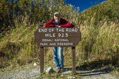 29. August 2016 - Zeichen liest 'Ende der Straßen-Meile 92 5' - Nationalpark Denali, Kantishna, Alaska Stockfotografie