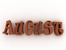 August-Zeichen mit Farbe Illustration des Papiers 3d Stockfotos