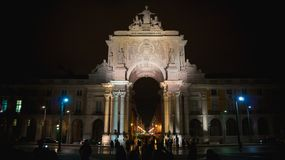 Augusta Arch Lissabon, Portugal royaltyfri bild