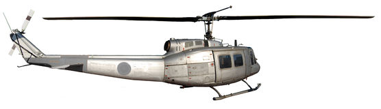 Augusta bell helicopter. Silver metal Augusta Bell helicopter on white background Stock Photo