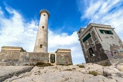 Augusta, Capo Santa Croce Lighthouse Stockbild