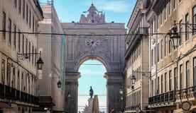 Augusta de Boog van de Straat, Lissabon stock foto's