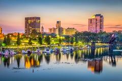 Augusta, Georgia, USA skyline. On the Savannah River at dusk stock image