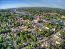 Augusta jest Capitol Maine Widok Z Lotu Ptaka brać od trutnia wewnątrz zdjęcie stock